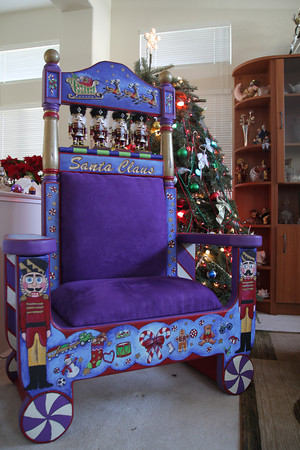 Santa Albert's awesome chair. Hand painted by Joy Brown.